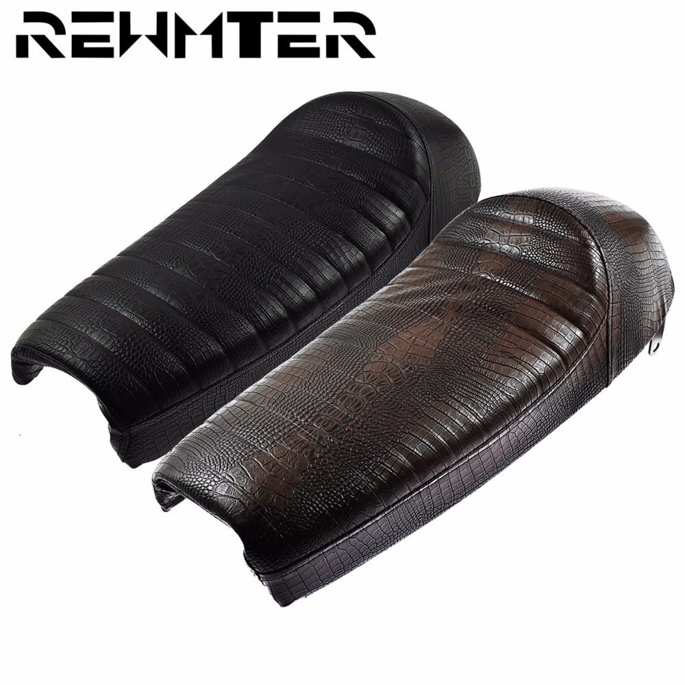 PU Leather Motorcycle Black/Brown Long Brat Retro Refit Vintage Hump Cafe Racer Seat For Honda For Yamaha For Suzuki image