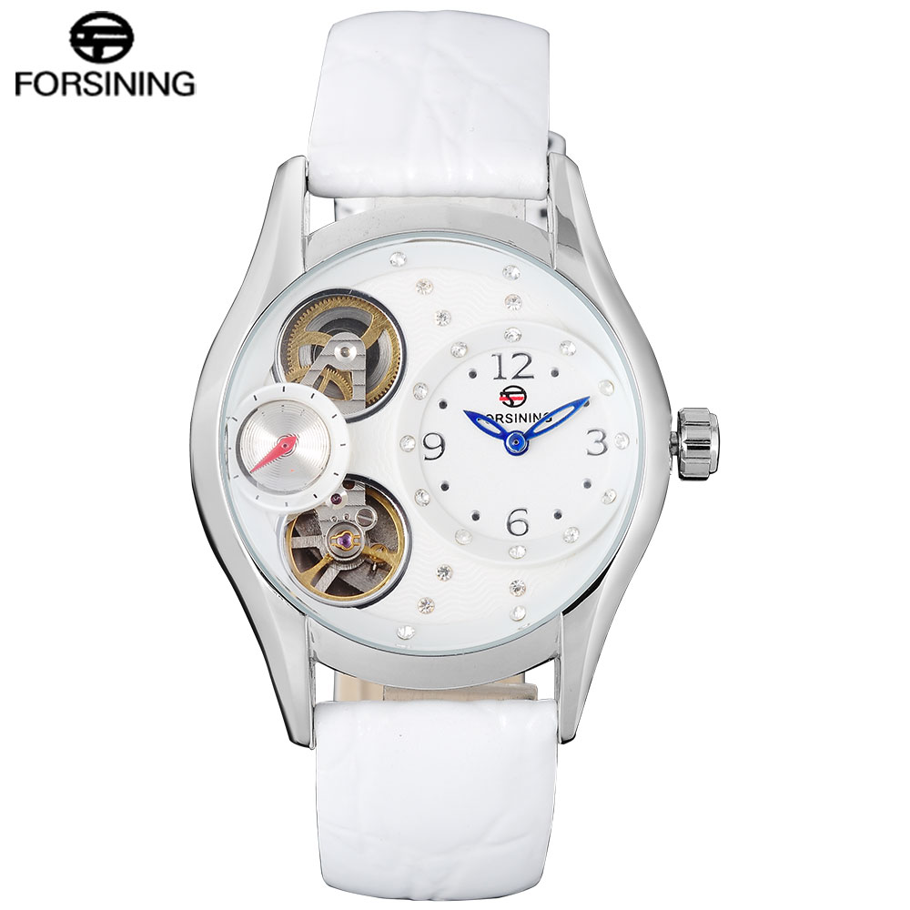FORSINING Mens Watches Skeleton Genuine Leather Top Brand White Color Luxury Auto Mechanical Men Watch Relogio Masculino все цены
