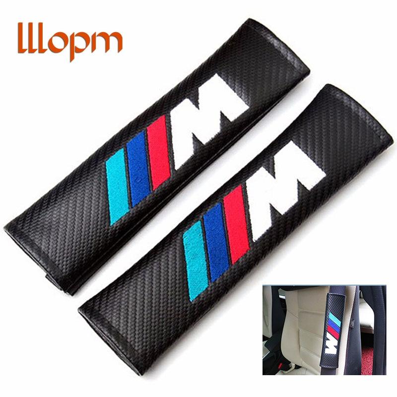 lllopm Carbon Fiber Cloth Car For BMW M Logo Shoulder Pad Sleeve Seat Safety Belt Cover For BMW E90 E91 E92 E53 E60 E46 E63 E64 car styling for bmw m real carbon fiber handbrake cover fitting kit e87 e90 e92 e60 e63 e64 m5 m3 m tec