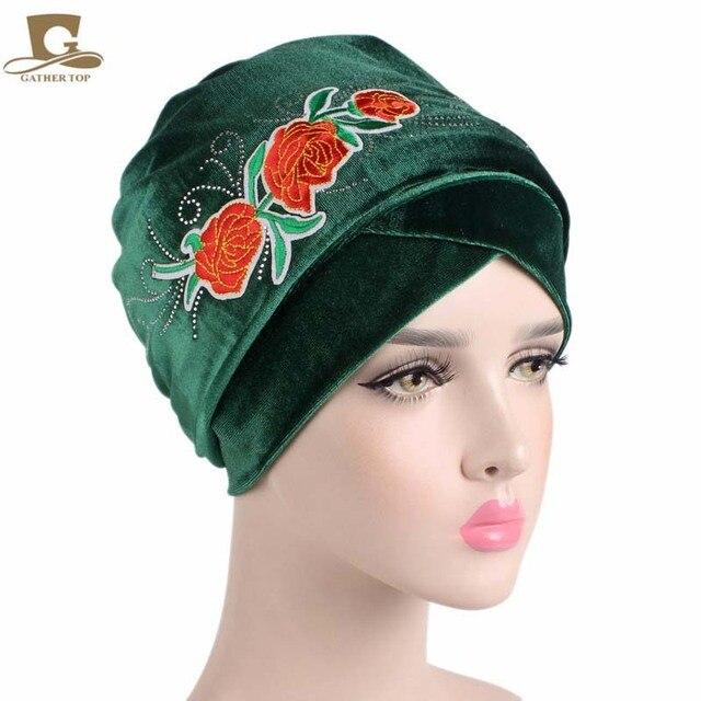 77fe619c815 New fashion Luxury Velvet Nigerian Turban with rhinestoned rose flower  Hijab Extra Long Tube Head Wrap Scarf Tie Ladies Turbante