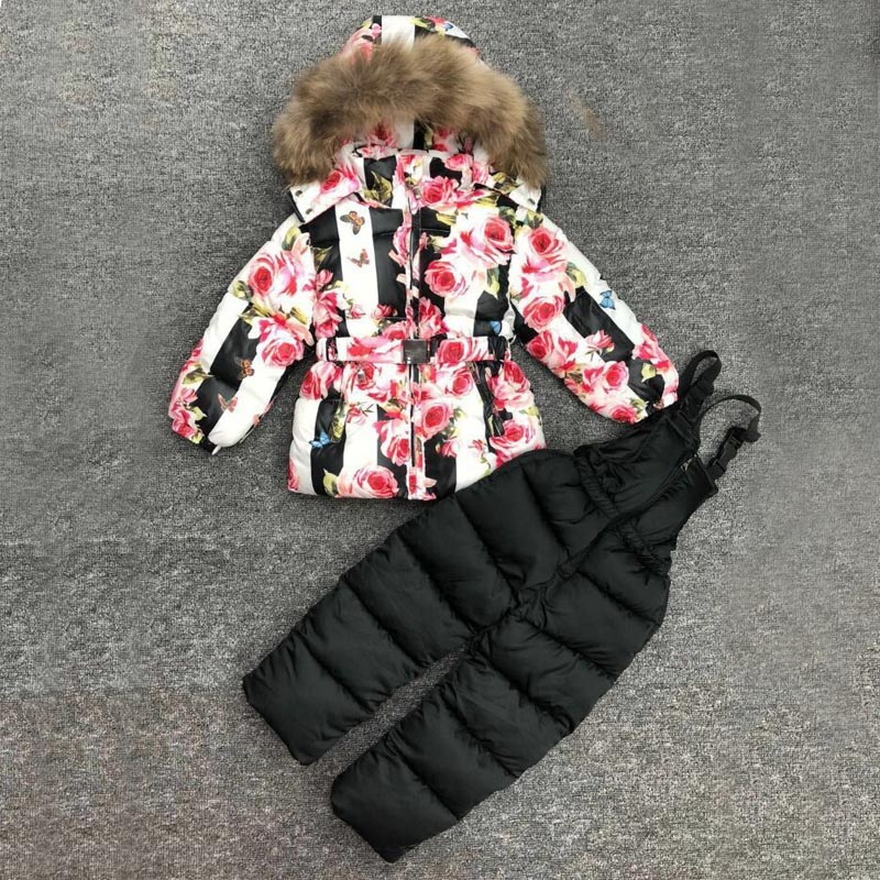 Russia Winter Suit For Girl Snowsuit Clothing Set For Kid Flower Butterfly 100 Natural Fur Hooded