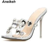 Aneikeh nouveau 2019 classique mode PVC Transparent pantoufles femmes perles bout ouvert verre clair mince talon haut Champagne argent 35-40