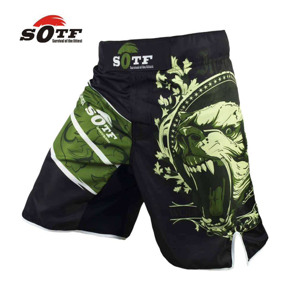 Sotf o urso preto mma shorts muay thai boxing troncos yokkao brock lesnar tigre muay thai kickboxing sotf marca mma boxeo