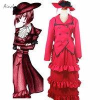 Ainclu Free Shipping Amorous Black Butler Madam Red Angelina Dalles Cosplay Costume Women's Dress Long Skirt For Halloween