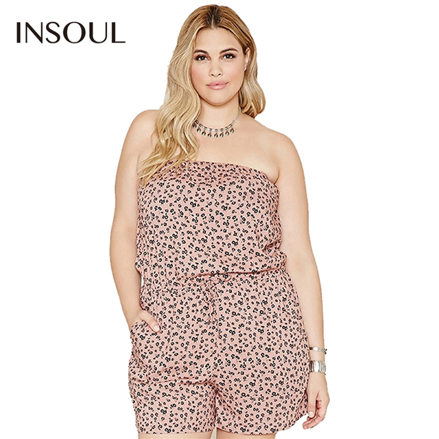 33a546ba2f25c5 INSOUL Plus Size Sexy Strapless Playsuit Grote Maat Bloemenprint Romper  Casual Hoge Taille Overalls Big 3xl