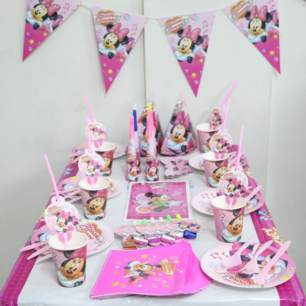 92pcGirl Kids Birthday Decoration Set Minnie Mouse Theme Luxury Party Baby Happy Girls Shower Supplies Favor On Aliexpress