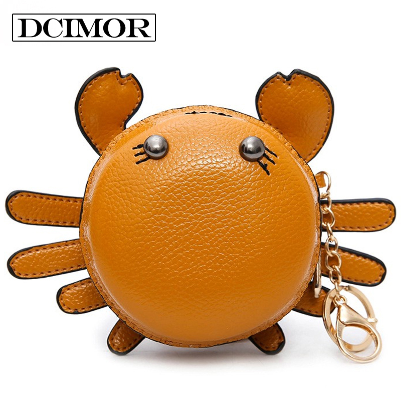 DCIMOR Creative crab zero wallet Lady's coin bag Key case Casual Mini Bag Children keep the purse Lovely cartoon Pendant Kawaii coin purses the movie aladdin and the magic lamp pattern lamp zero wallet coin bag children birthday gift lqb1058