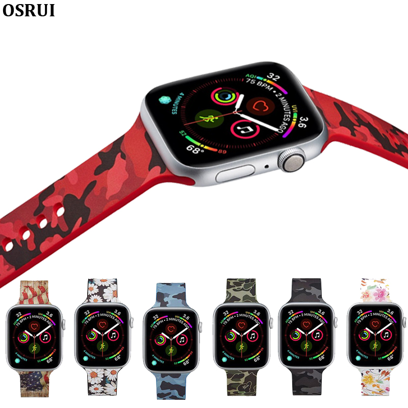 Silicone Replacement Strap For Apple Watch Band 4 44mm 40mm Flower Printed Bracelet For Iwatch Series 5 3 2 38mm 42mm Wristbands