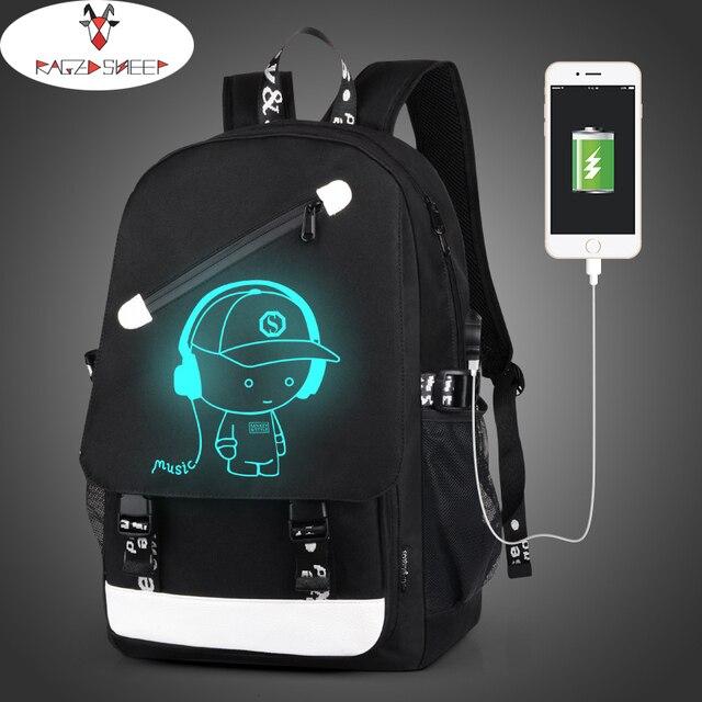 Бушевали овец Мальчики школьного рюкзака студент световой анимации USB зарядка переключение совместных школьные сумки для Подростка Сумка для ноутбука