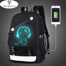 Бушевали овец Обувь для мальчиков школьного рюкзака студент световой анимации USB зарядка переключение совместных Школьные сумки подросток Anti-Theft рюкзак