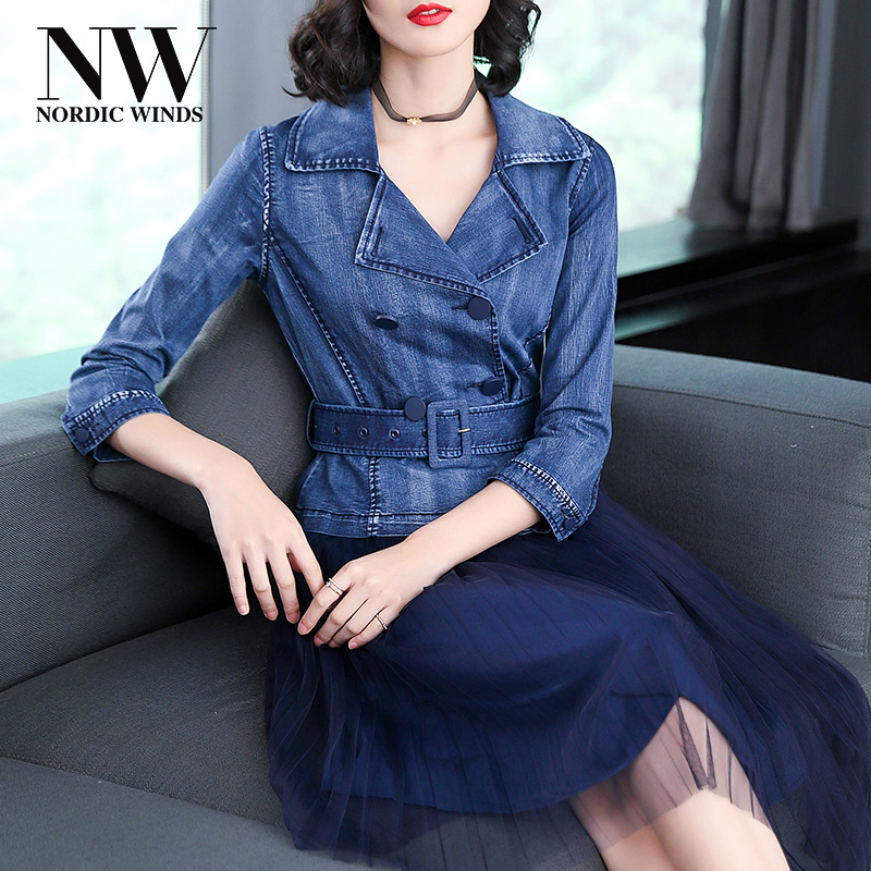 Women Denim Lace Dress Midi Casual Empire Waist Turn Down Collar Cotton Spandex A Line Jeans Dresses 2018 Autumn Womens Clothes