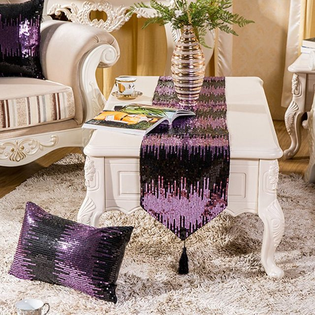 Sequin Table Runner Fringed Tablecloth Shiny Household Coffee Runners Event Banquet Decor Wedding