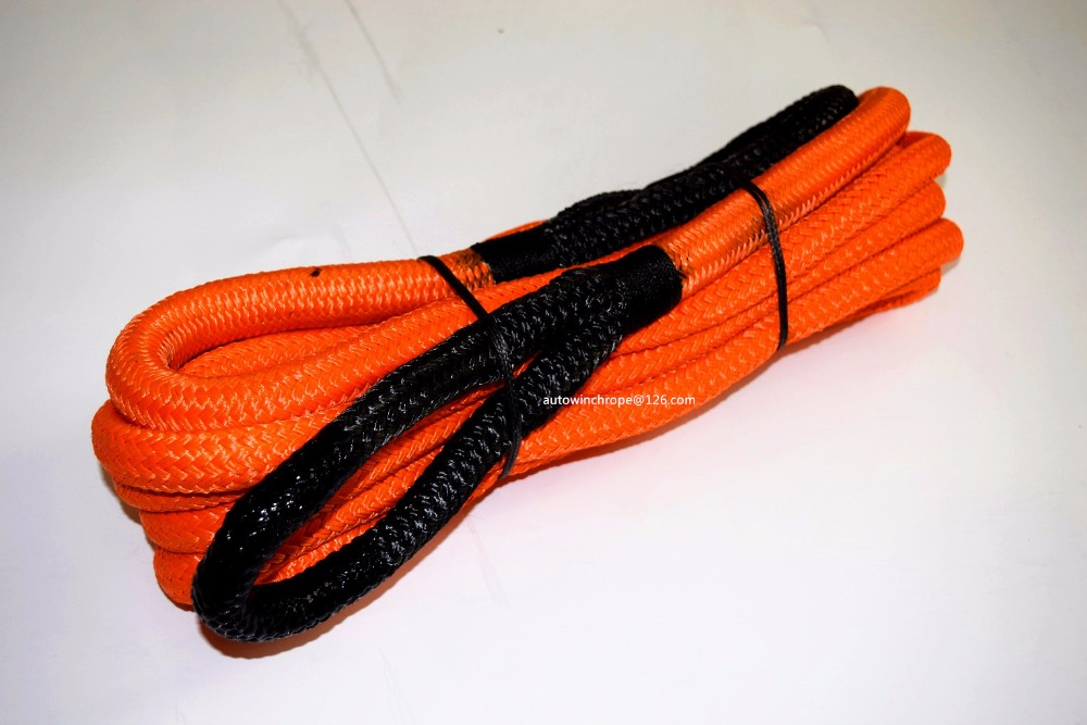 Free Shipping Orange 3/4*30ft Kinetic Energy Recovery Rope,Synthetic Winch Cable Rope,Towing Rope,Double Braided Nylon Rope free shipping 8mm 30m red synthetic kevlar winch cable winch rope extenstion atv winch line uhmwpe rope