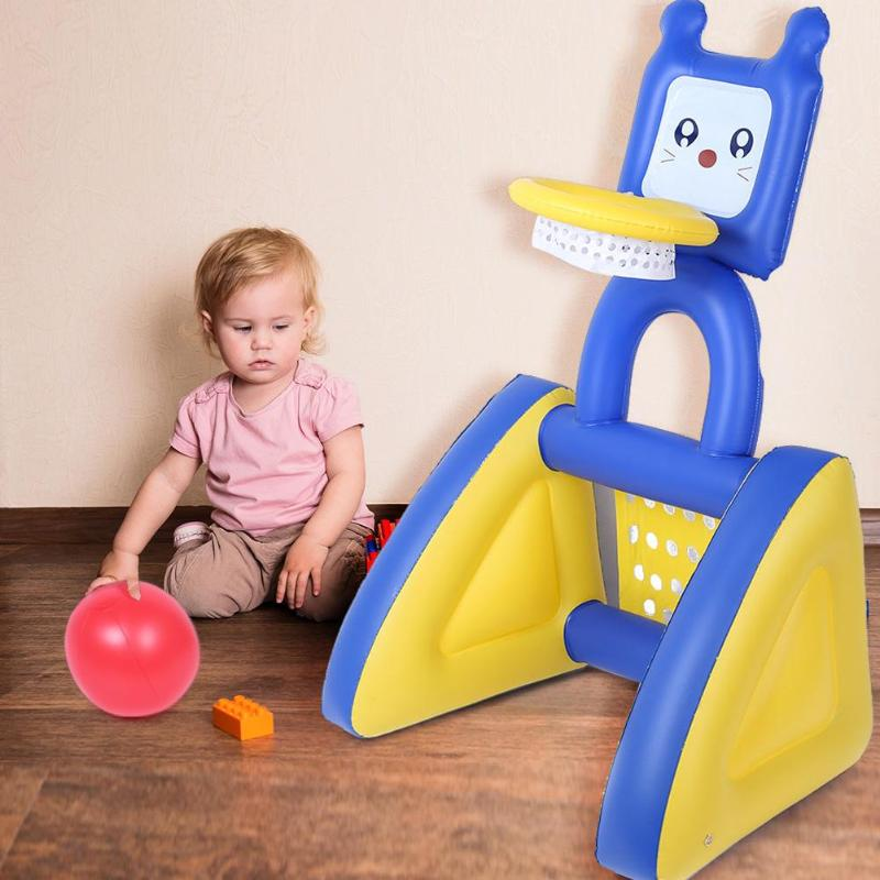 1set Children Basketball Stand Toy for Birthday Gift 2 in 1 PVC Basketball Stand Soccer Net Holder Outdoor Fun Sports Game Toys