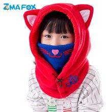 ZMAFOX toddlers baby winter masked hat fleece balaclava cap children kids beanie hats neck warmer velvet hooded caps with mask