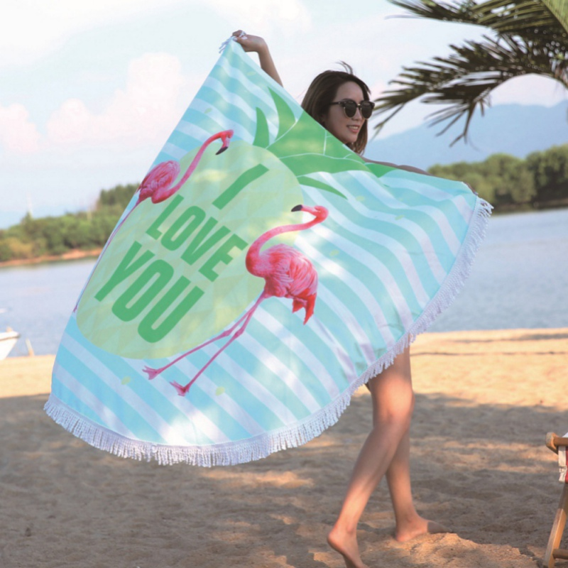 Factory direct circular printing beach towel flamingo microfiber plus fringed feel soft