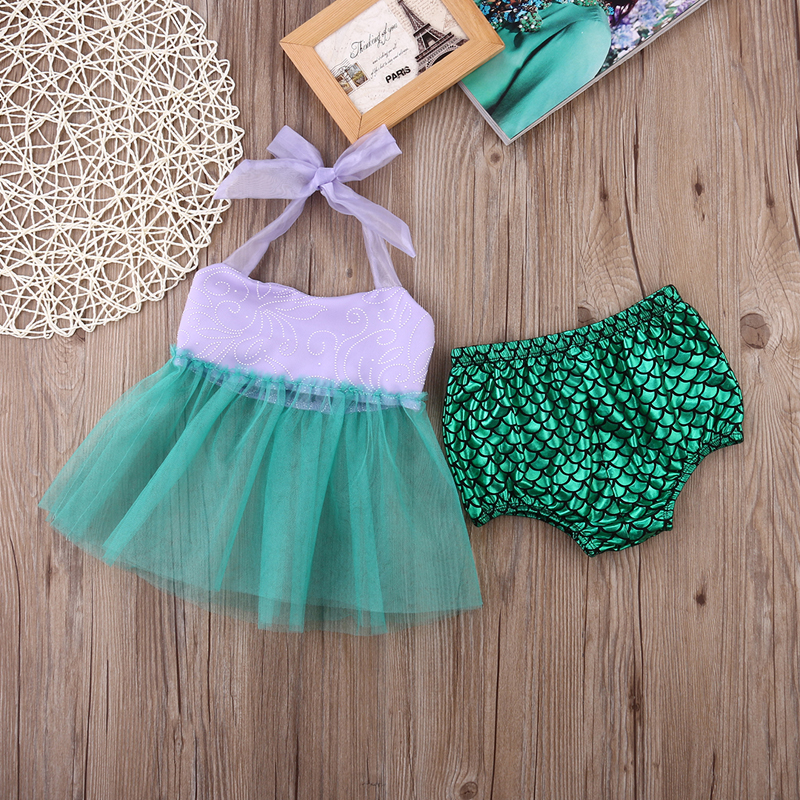 New Fashion Infant Kids Baby Girls Clothes Sleeveless Tulle Tops+Bottoms Briefs Mermaid Outfits Set Clothing
