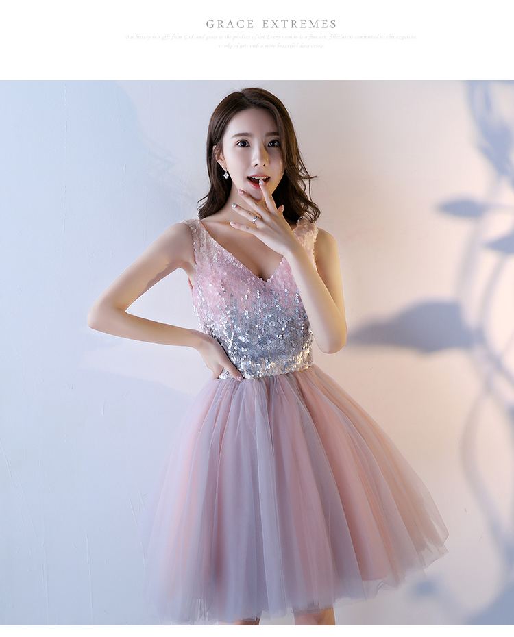 Pink A-Line Sequined Knee-Length Princess Bridesmaid Dress 3