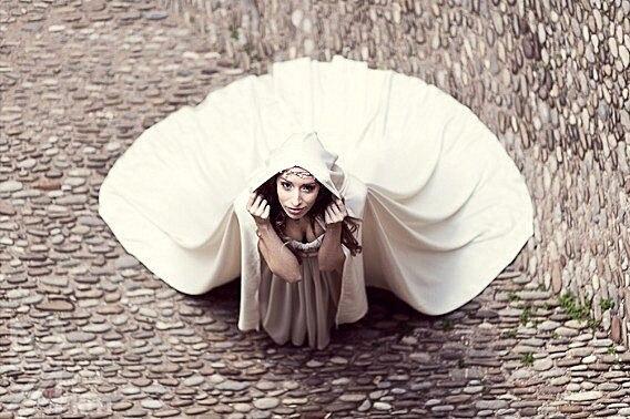 Wedding cape bridal cloak satin cape with hood handfasting