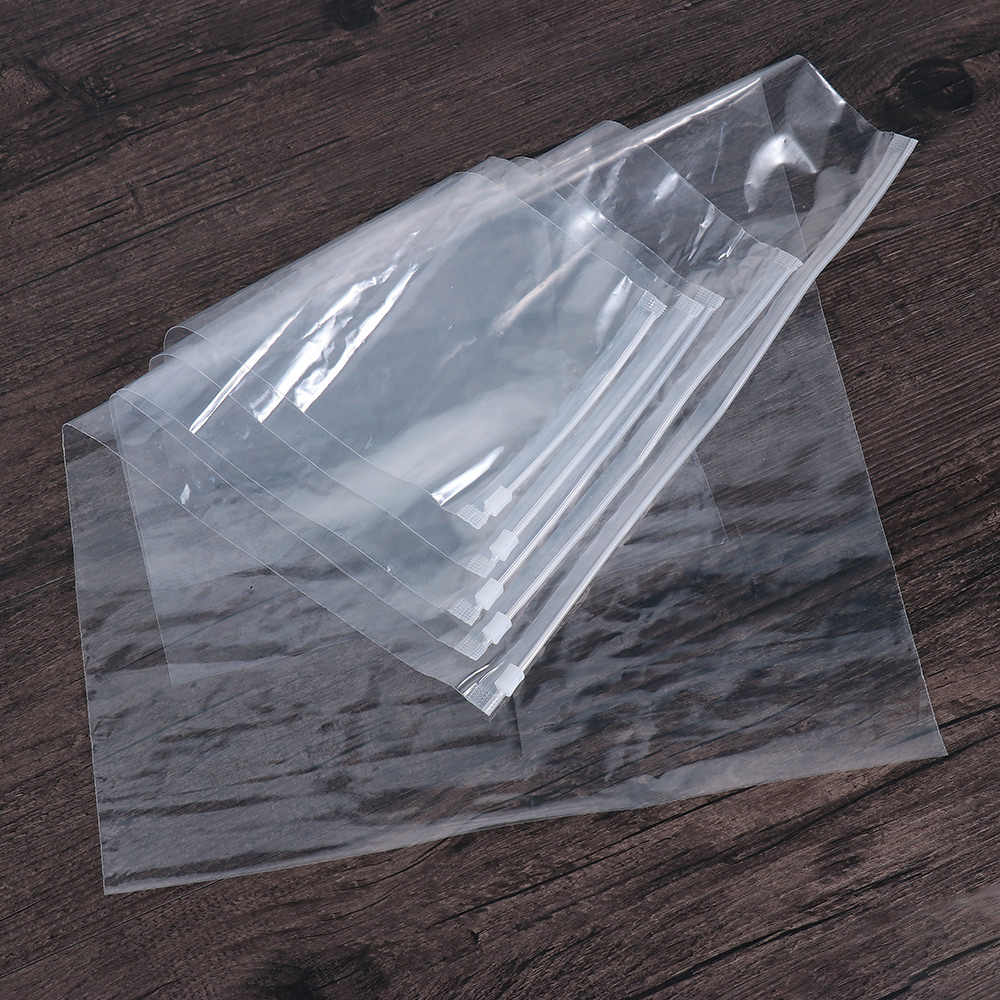 5PCS Clear Transparent Plastic Package Cloth Travel Storage Pouch Waterproof Bag Zip Travel Clothes Storage Self-sealed Organize