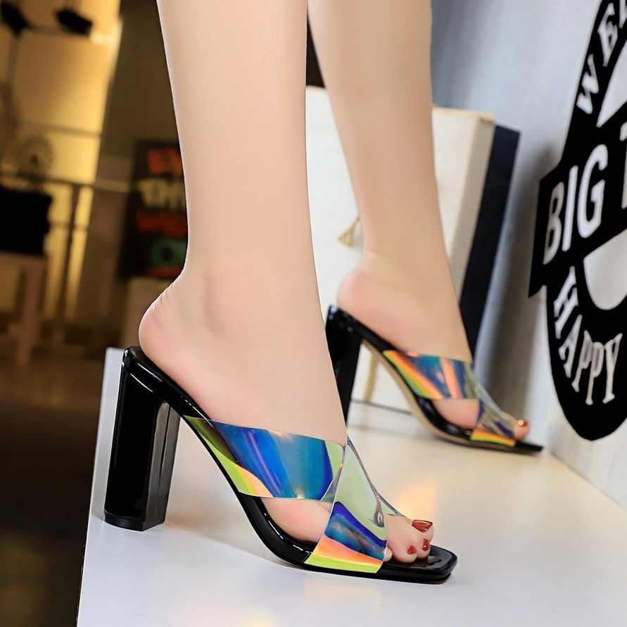 BIGTREE YENI Kaydırıcılar Moda Kadın Terlik Topuklu Rugan Bling Bayanlar Ayakkabı Gelgit Çapraz bağlı Sandalet Seksi Kadın Ayakkabı
