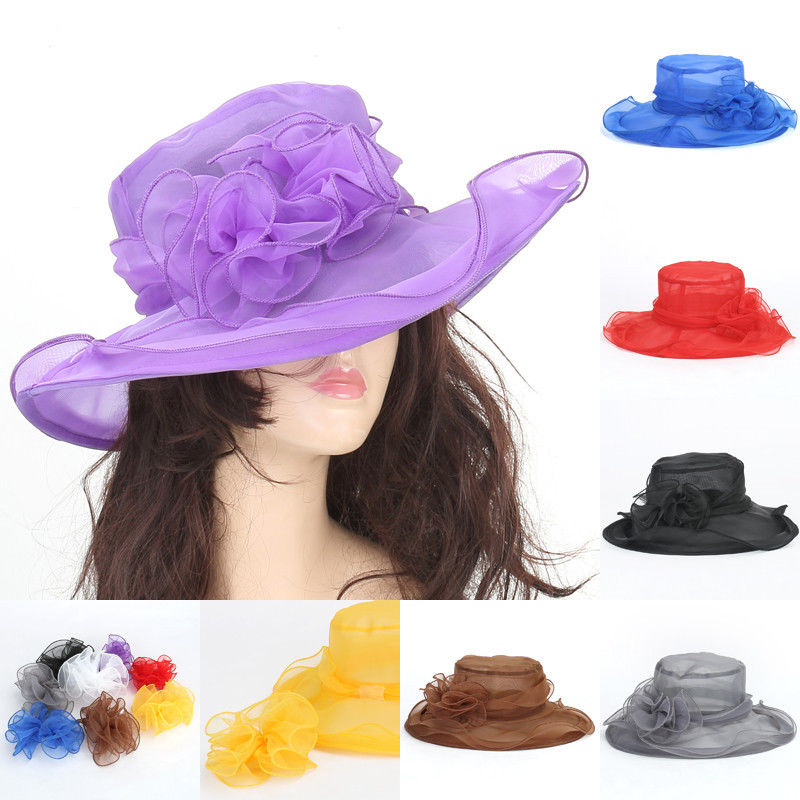 Fashion Sun Hat  Women Lace Wide Brim Kentucky Derby Sun Hat Wedding Tea Party Church Cap