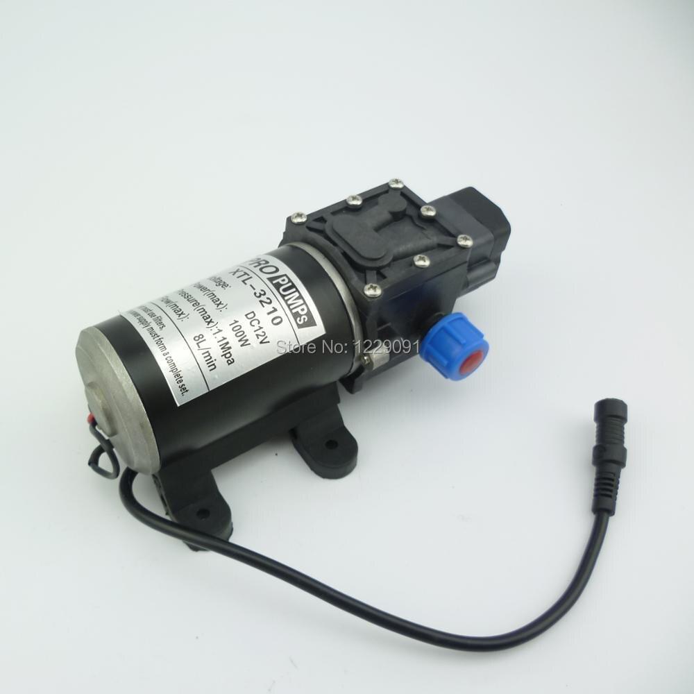 DC 12 В в 100 Вт микро электрический мембранный Водяной насос автоматический переключатель 8л/мин высокое давление Автомойка спрей водяной нас...