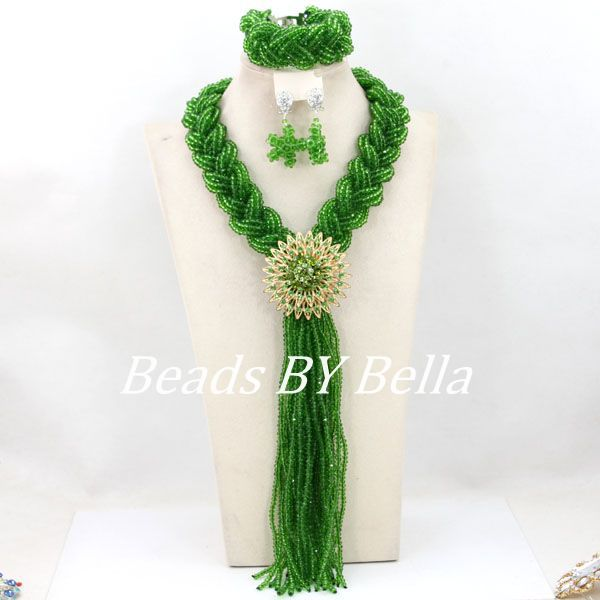 Nigerian Green Wedding Crystal Beads Necklace Set Costume Bridal Jewelry Fashion African Beads Jewelry Set Free Shipping ABY941 luxury african beads bridal jewelry set 3 rows green crystal balls necklace set women costume jewelry set free shipping abc990