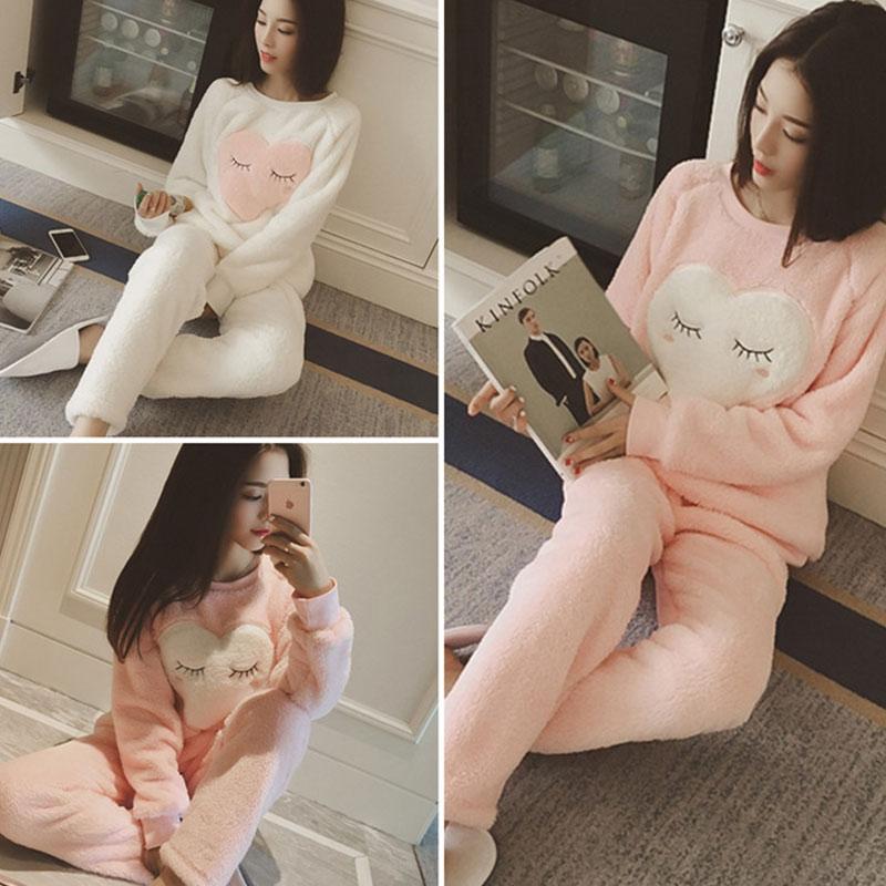 New Winter Autumn Women Pajama O neck Sweatshirts Pants Sets Cartoon Warm Sleepwear Fleece Soft Sleep