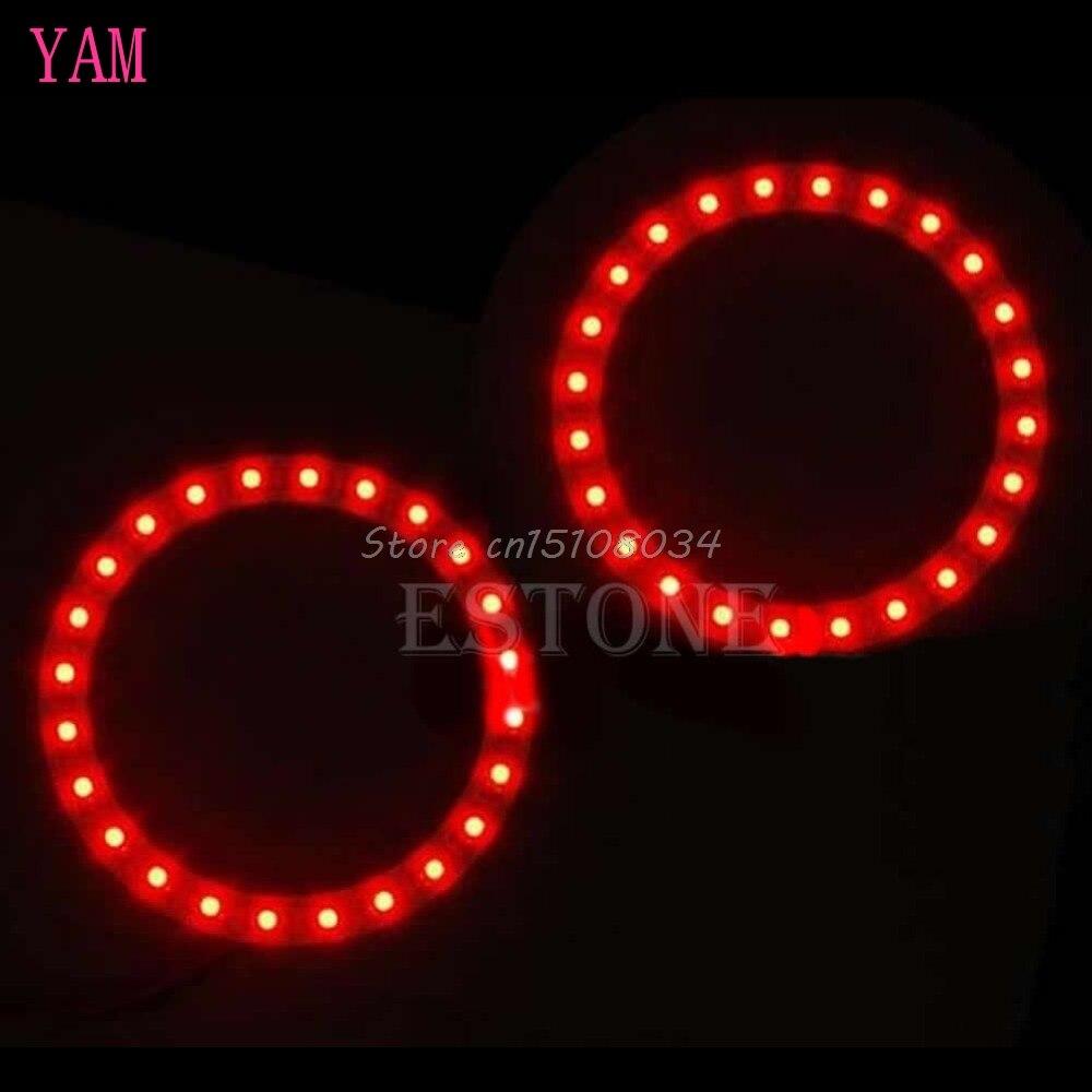 2Pcs Bright Red 80mm Angel Eyes 24 SMD LED Ring Car Light S08 Drop ship
