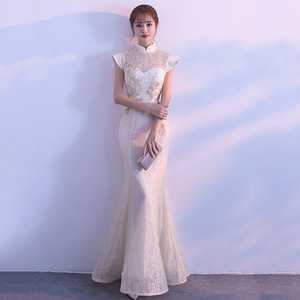 Image 1 - חדש הכלה מסיבת Cheongsam מזרחי נשים שמלת אופנה בסגנון סיני אלגנטי ארוך Qipao יוקרה חתונה גלימת Vestido S XXL