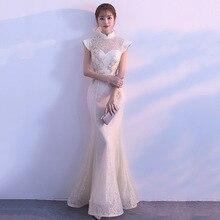 Nowa panna młoda Party Cheongsam orientalne sukienka damska moda chiński styl elegancki długi Qipao luksusowe ślubne szata Vestido S XXL