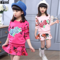 Famli Girls 2pcs Tshirt+skirt Suit 2017 Kids Spring Autumn Fashion Long Sleeve Floral Cotton Skirt Clothing Set Children Outfits