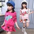 Famli meninas 2 pcs camiseta + saia terno 2017 crianças de moda primavera outono manga longa de algodão floral conjunto roupas saia crianças outfits