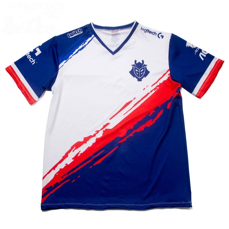 Camisa de manga curta dos homens das mulheres com decote em v t camisas personalizadas camiseta homme qualidade superior 1:1 g2 esports id personalizado tshirt fãs