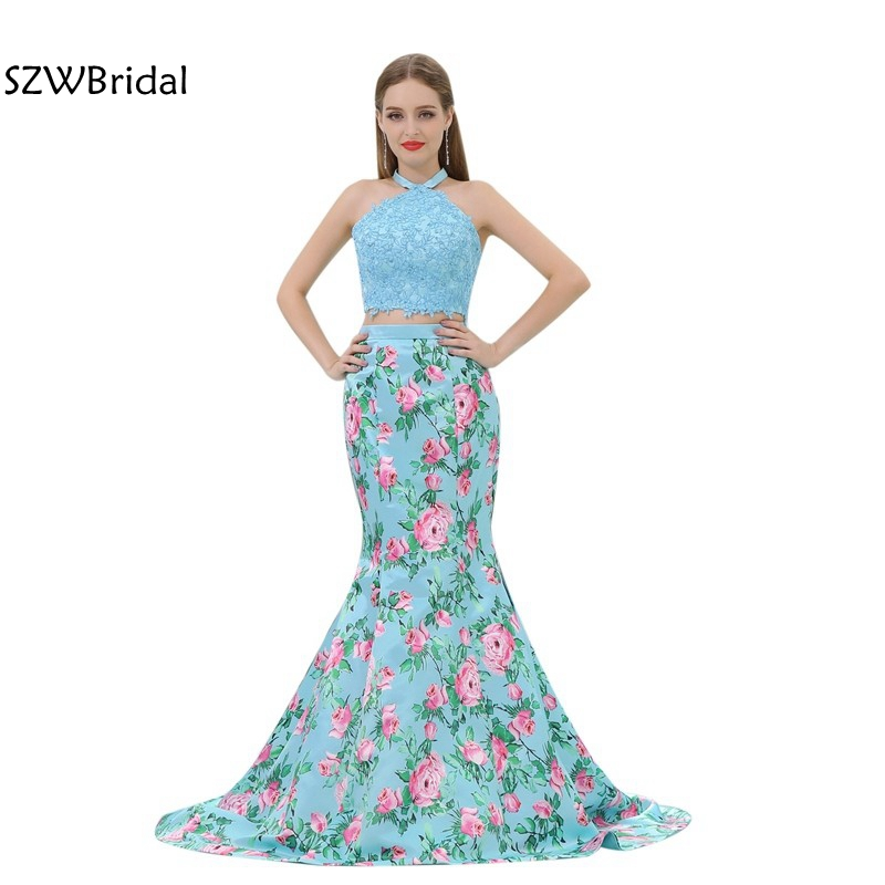 New Arrival Floral Print Two Piece   Prom     dresses   2019 Vestido de festa Jurken Cheap   Prom     dress   for graduation