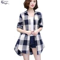Spring Shirt Female Latest Korean Large Size Long Sleeves Loose Shirt Female Plaid Elegant Medium Length