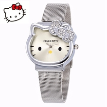 1bcd6f1d4 Hello Kitty Watch Cartoon Clock Kids Children Girls Lovely Wrist Watches  Crystal Watch Clock Hot dames horloges