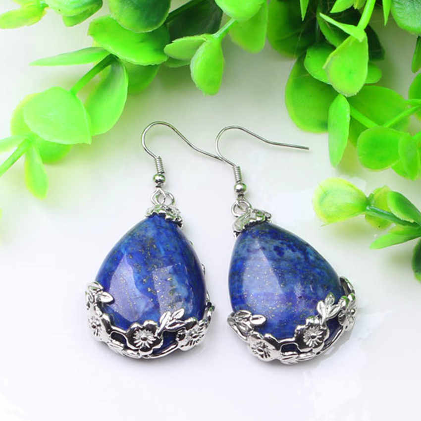 Kraft-beads Elegant Style Silver Plated Water Drop With Flower Lapis Lazuli Dangle Earrings Fashion Jewelry