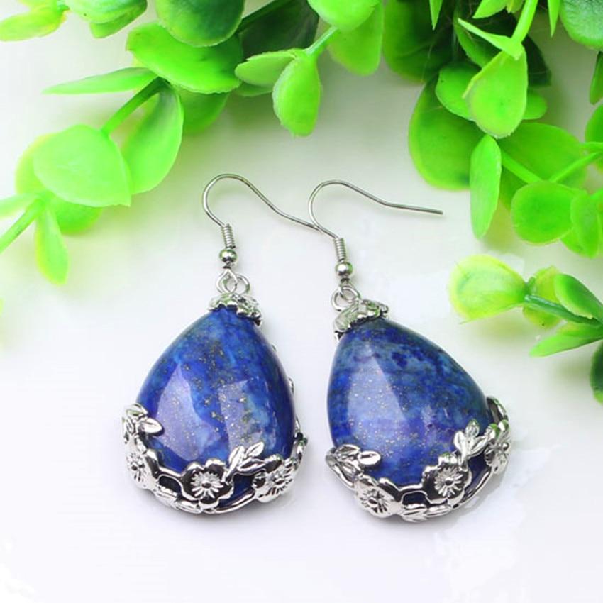 Kraft-beads Elegant Style Silver Plated Water Drop With Flower Lapis Lazuli Dangle Earrings Fashion Jewelry