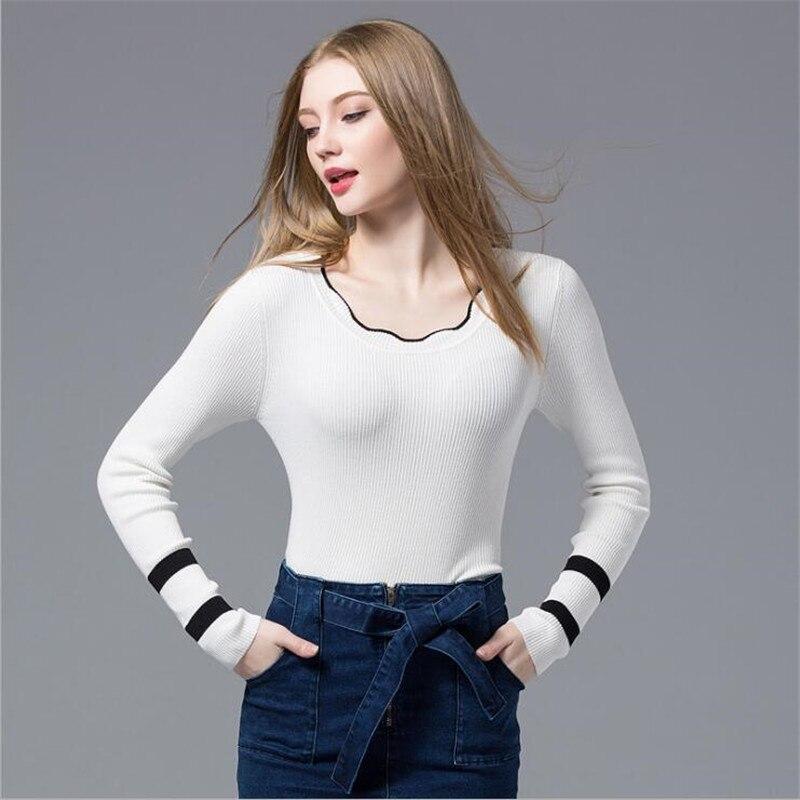 Printemps Tops 2018 Mince Blanc Manteau Femmes Chandail O-cou Bord Ondulé À  Manches Longues Tricoté Série Mince Pulls Femmes Casual Pull 2914530d0bb