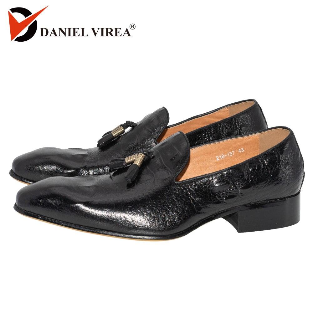 Autumn Winter Men Casual Loafers Office Luxury Brand Leopard Print Brown Formal Alligator Genuine Leather Slip
