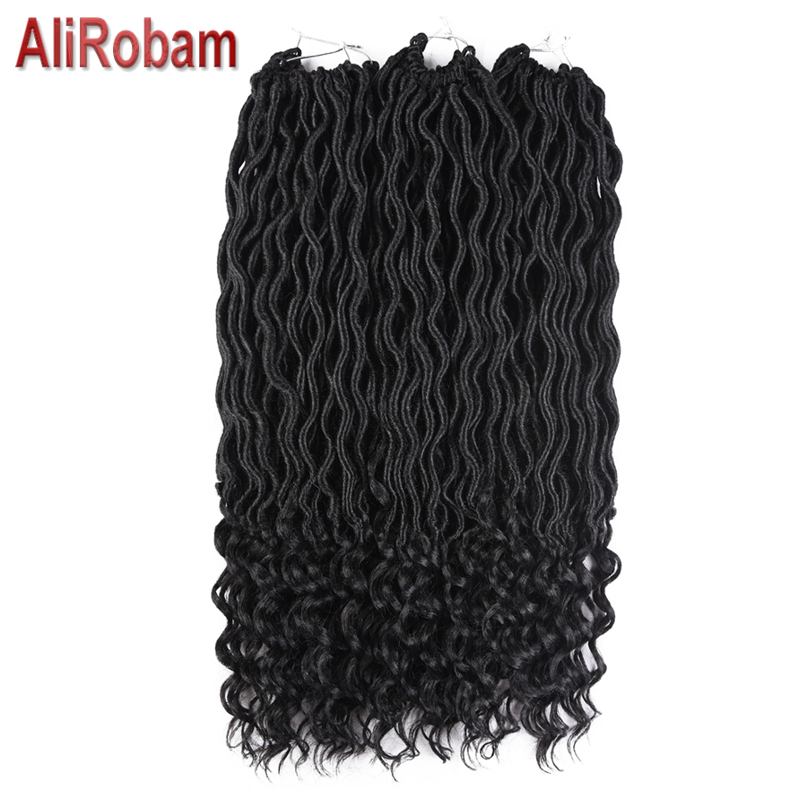 AliRobam 20Inch Goddess Faux Locs Curly Crochet Hair 24 Roots Synthetic Crochet Braid Ha ...