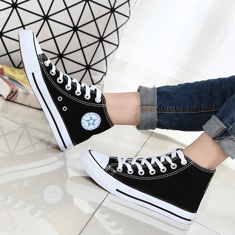 2019 Novo Verão Sapatilhas Cunhas Sapatas de Lona Dos Homens Homens Sapatos Casuais Respirável Cesta Branca Estrelas Sapatilhas Sapatos Zapatos Mujer
