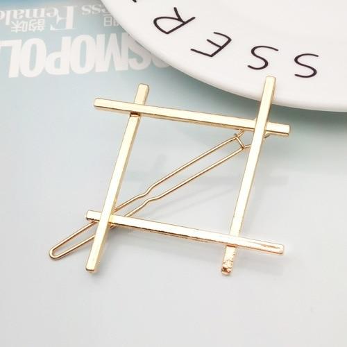 Fashion Geometric Mental Hairpins for Girls Triangle Moon Hair Pin Lip Round Star Hair Clip for Women Barrettes Hair Accessories 8