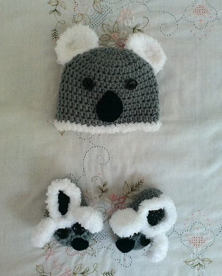 Koala Crochet hat and shoes, handmade baby koala beanie and booties, koala cap, infant shoes, newborn - adult size