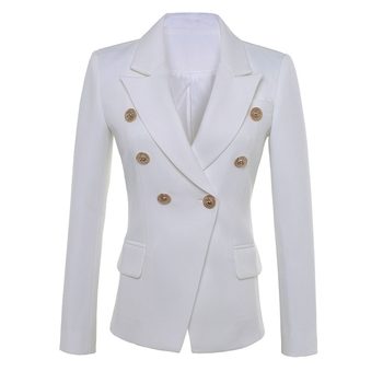 HIGH QUALITY New Fashion 2018 Star Style Designer Blazer Women's Gold Buttons Double Breasted Blazer size S-XXL