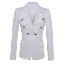 高品質新ファッション 2020 スタースタイルデザイナーブレザー女性のゴールドボタンダブルブレストブレザープラスサイズS XXXL