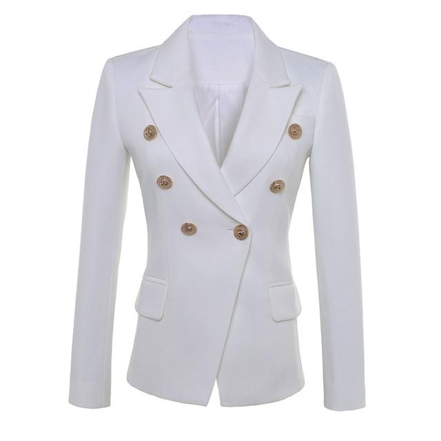높은 품질 새로운 패션 2020 스타 스타일 디자이너 블레 이저 여자의 골드 단추 더블 브레스트 블레 이저 플러스 크기 S XXXL