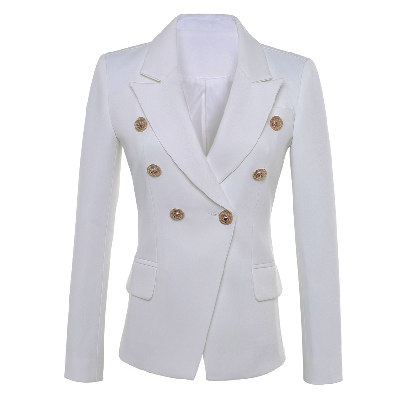 HIGH QUALITY New Fashion 2018 Star Style Designer Blazer Women's Gold Buttons Double Breasted Blazer Plus Size S-XXXL
